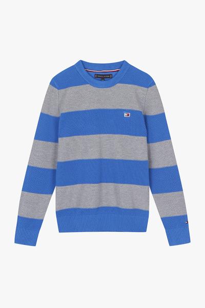 코튼 컬러블록 긴소매 스웨터