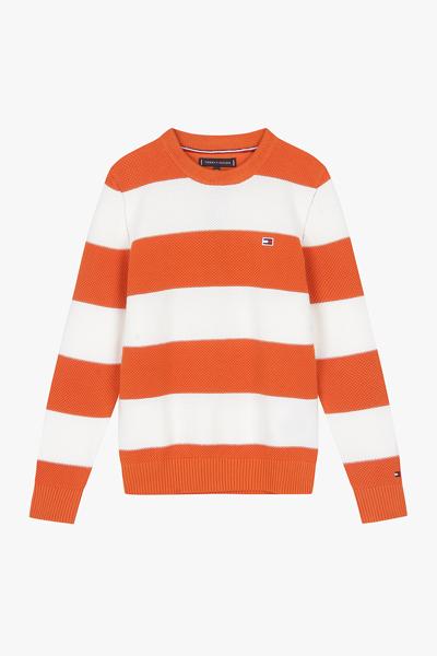 코튼 컬러블록 긴팔 스웨터