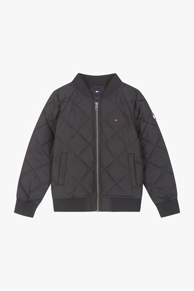 퀼티드 레귤러핏 플래그 로고 봄버 자켓