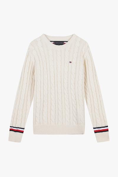 케이블 크루넥 스웨터
