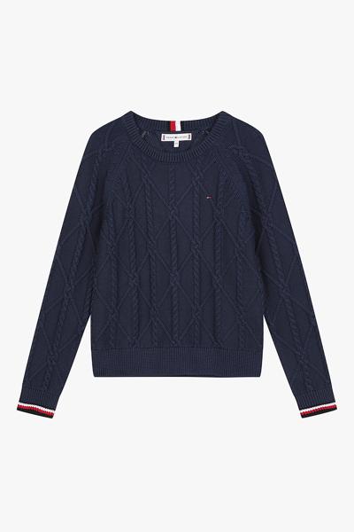 케이블 크루 라운드넥 스웨터