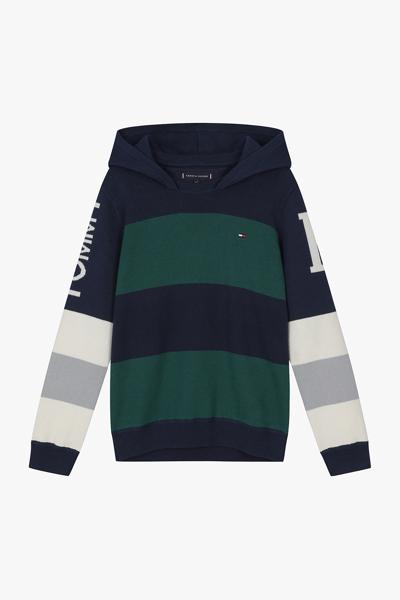 레귤러핏 컬러믹스 후드 스웨터