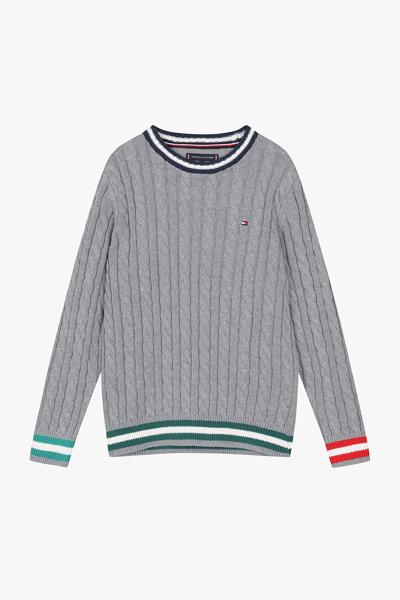 레귤러핏 케이블 스웨터