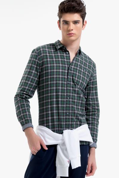 코튼 레귤러핏 체크 셔츠