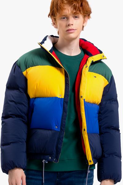 나일론 오버사이즈핏 컬러블록 덕다운 자켓