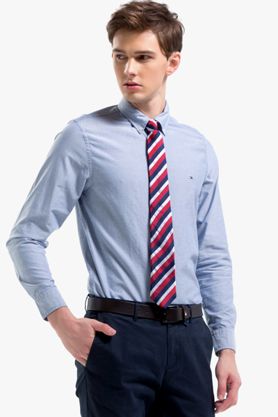 코튼 슬림핏 솔리드 옥스포드 셔츠