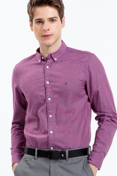 코튼 슬림핏 깅엄체크 셔츠