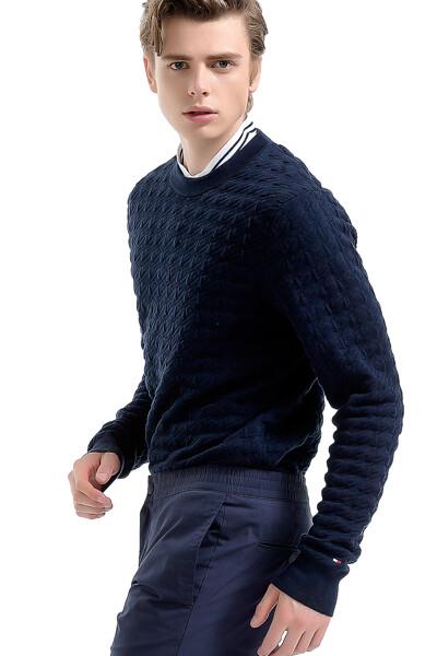 면혼방 하운드투스 크루넥 스웨터