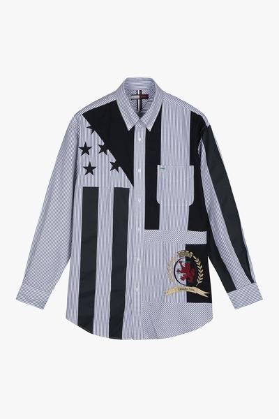 코튼 아카이브핏 오버프린트 셔츠