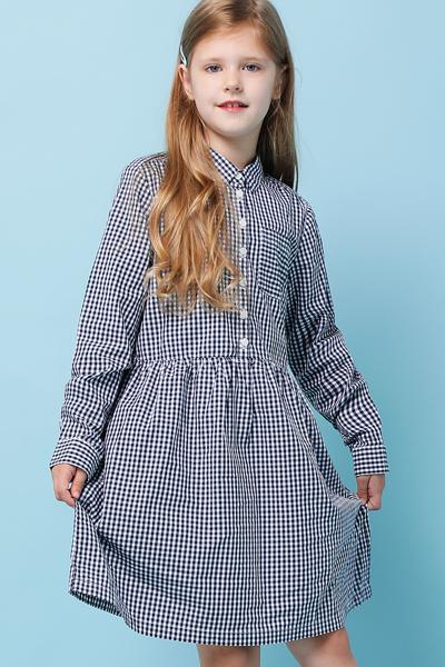 코튼 깅엄체크 긴소매 셔츠 드레스