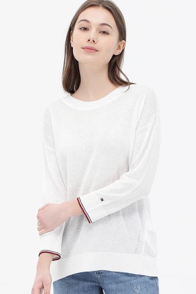 린넨혼방 티핑 7부소매 스웨터