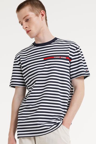 코튼 스트라이프 반소매 티셔츠
