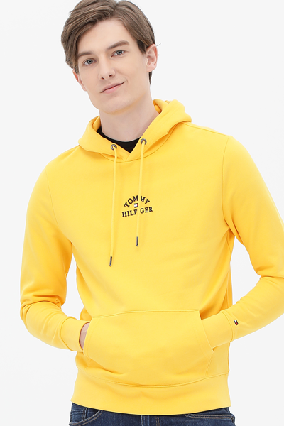 코튼 로고 긴소매 후드 티셔츠