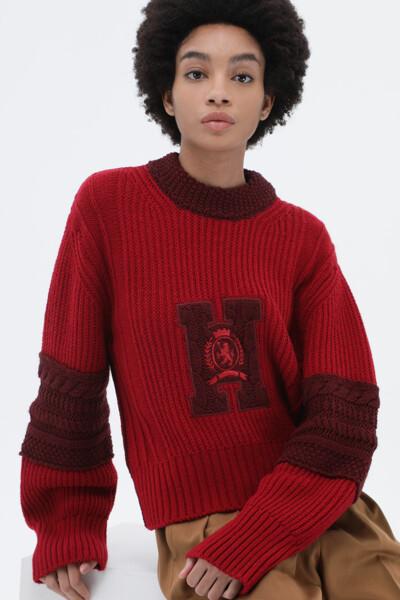 울혼방 레터맨 크롭 스웨터
