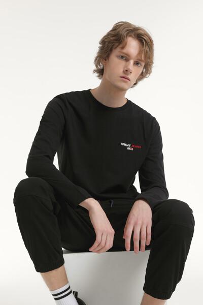 코튼 레터링 긴소매 티셔츠