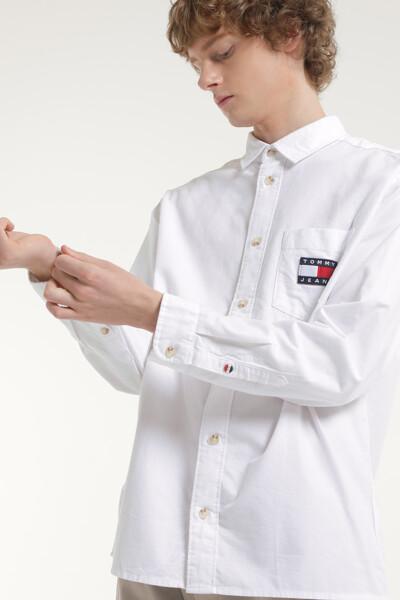 브러시트 옥스포드 박시핏 뱃지 셔츠