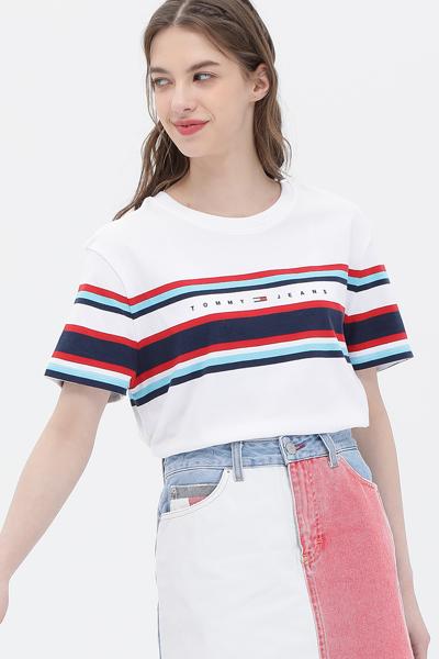 코튼 스트라이프 로고 반소매 티셔츠