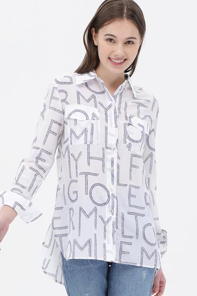 면혼방 걸프렌드핏 로프 로고 셔츠