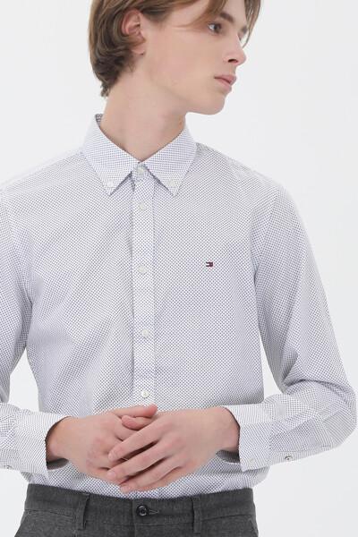 코튼 슬림핏 마이크로 프린트 트윌 셔츠