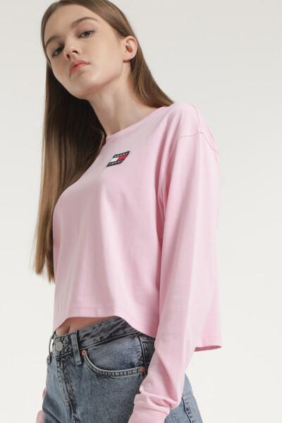 면혼방 뱃지 긴소매 티셔츠