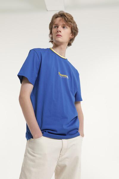 코튼 콘트라스트 반소매 티셔츠