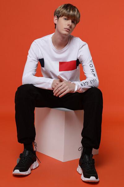 코튼 아이코닉 긴소매 티셔츠
