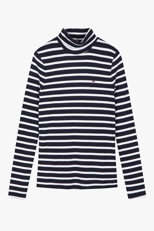 면혼방 스트라이프 롤넥 티셔츠