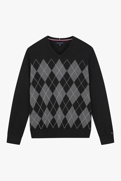 아가일 크루넥 스웨터