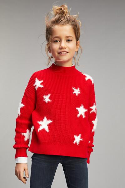 별 패턴 크루넥 스웨터