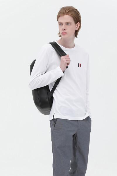 코튼 TH 플레그 뱃지 라운드넥 티셔츠