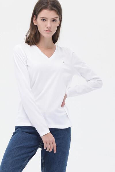 코튼 슬림핏 브이넥 티셔츠