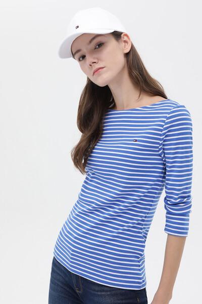코튼 스트라이프 보트넥 티셔츠