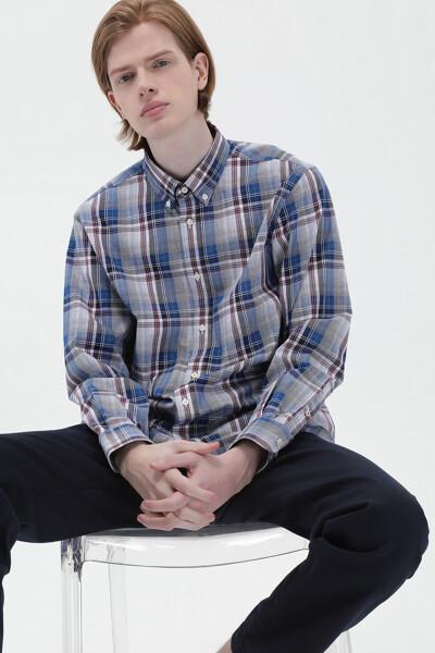 코튼 스탠다드핏 타탄체크 셔츠