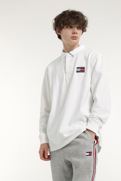 코튼 백 플래그 긴소매 폴로 티셔츠