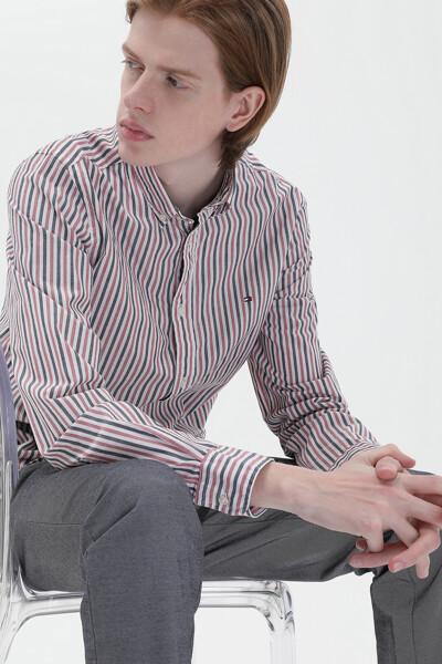 코튼 레귤러핏 베이직 스트라이프 셔츠