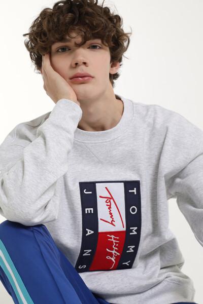 플래그 크루넥 맨투맨 티셔츠