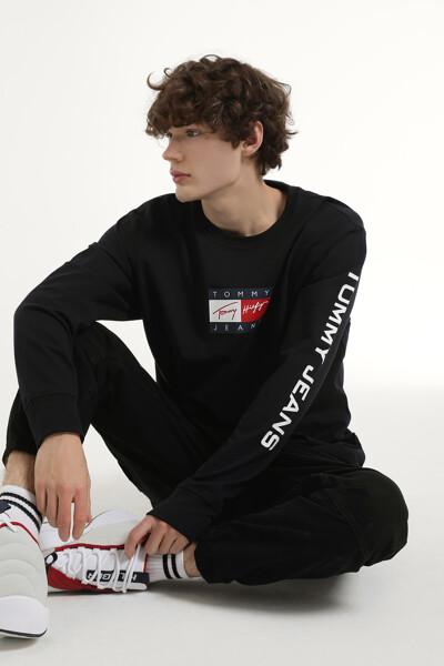 코튼 플래그 레터링 크루넥 티셔츠