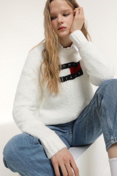 플래그 크루넥 스웨터