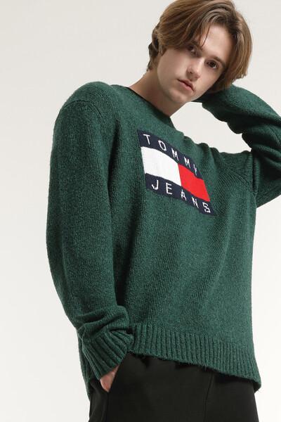 로고 플래그 크루넥 스웨터 탑