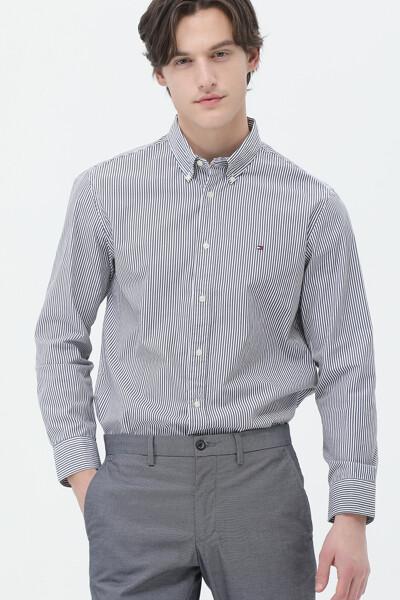 코튼 레귤러핏 모던 스트라이프 셔츠