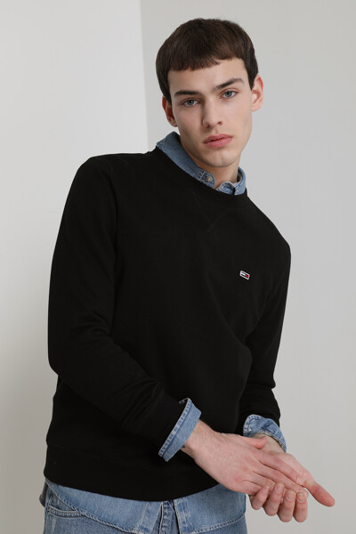 면혼방 솔리드 뱃지 크루넥 스웨트 셔츠