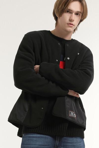 플리스 포켓 뱃지 노카라 자켓
