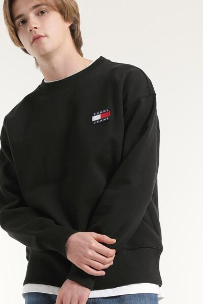 코튼 베이직 뱃지 라운드넥 스웨트 셔츠