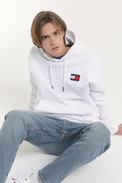 로고 뱃지 후드 티셔츠