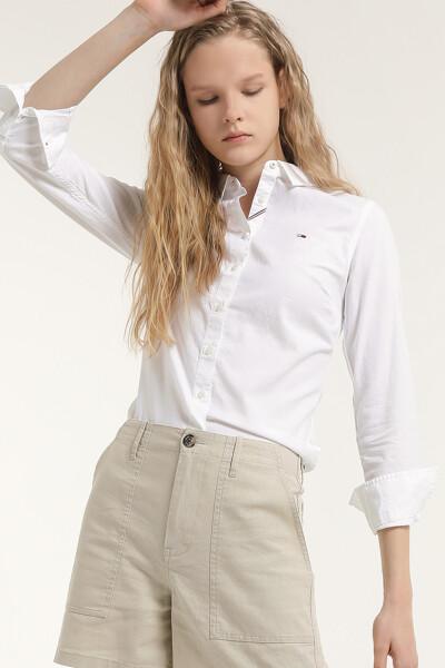 코튼 슬림핏 심플 셔츠