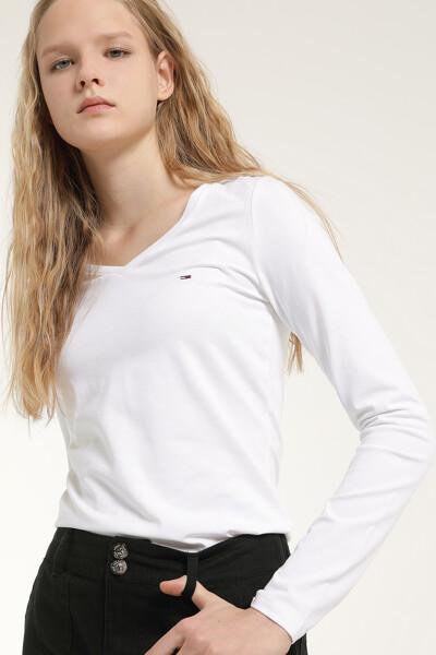 면혼방 슬림핏 브이넥 티셔츠