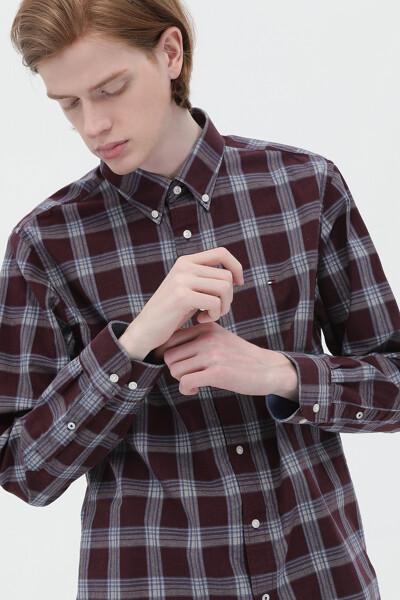 코튼 레귤러핏 클래식 체크 셔츠
