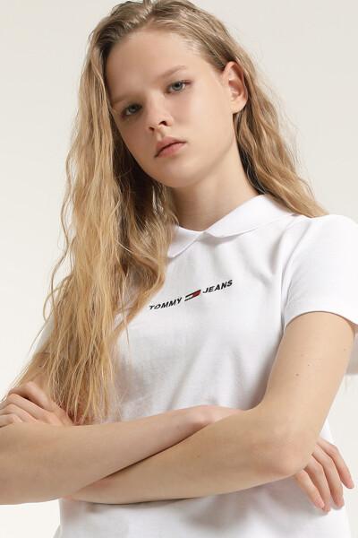 코튼 레귤러 리니어 로고 폴로 티셔츠
