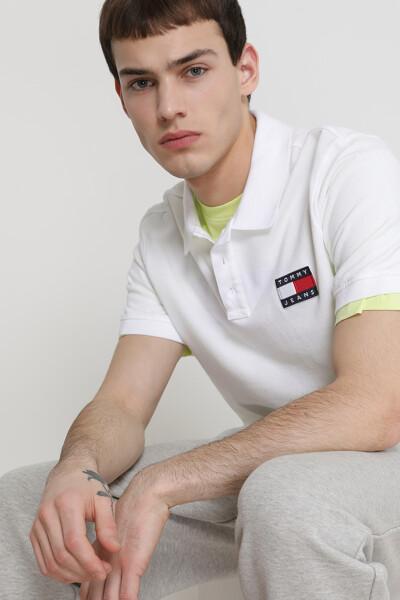 코튼 로고 뱃지 반팔 폴로 티셔츠