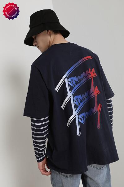 코튼 플러스 TOMMY 리피트 스크립트 티셔츠